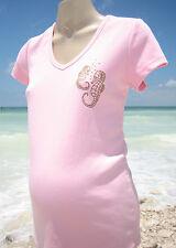 Pink Seahorse Maternity T-Shirt Beach Ocean Surf Sea Sand Coral SMALL S Tee
