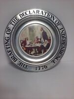 Vtg Pewter Ceramic Plate Draft Of Declaration Of Independence Bicentennial Art