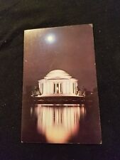Jefferson Memorial as Seen at Night Across the Tidal Basin in April Old Postcard