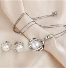 Natural Pear Silver Diamond Universe Ear Ring Necklace Set Gift Formal Dress