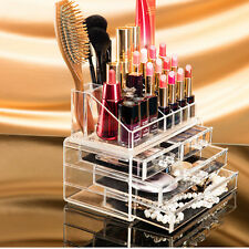 Cosmetic Organizer Drawers Clear Acrylic Jewellery Box Makeup Storage Case UK