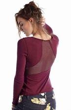 Free People Purple Jersey Jane Mesh Long Sleeve Layering Top Shirt Tee S NWT