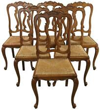 DINING CHAIRS LOUIS XV ROCOCO VINTAGE FRENCH 1950 OAK RATTAN CHARMING SET 6