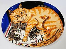 """New listing Cats By Nina 18"""" Serving Platter - Orange Tabby Cat - Cats Hugging"""