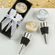 25 Personalized Metallic Wine Bottle Stopper Shower Wedding Party Event Favors