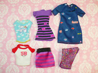 Mattel Barbie Doll Clothing Lot 6 pc FASHIONISTAS DRESSES TOPS SKIRT Clothes Lot