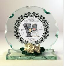 FIRST  Wedding Anniversary gift personalised Cut glass round plaque  |4