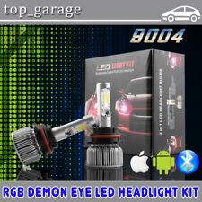 9004 HB1 2 in 1 COB 60W LED Hi-Low Beam Headlight with RGB Demon Eye APP Control