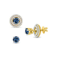 DOUBLE HALO ROUND CUT BLUE SAPPHIRE EAR JACKET EARRINGS 14K YELLOW GOLD OVER
