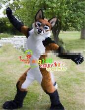 Christmas Hamdsome Husky Dog Costume Long Fur Fox Adult Suit Mascot Unisex Dress