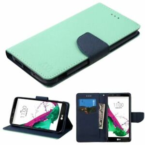 Teal Green New Magnet PU Leather Card Slot Stand Flip Wallet Case For LG G5