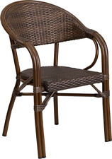 Cocoa Rattan Restaurant Patio Chair in Bamboo Style with Aluminum Frame
