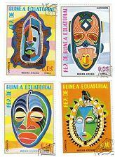 GUINEA ECUATORIAL - Bustina 4 francobolli serie MASCHERE