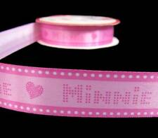 "5 Yds Disney Minnie Mouse Heart Pink Satin Ribbon 7/8""W"