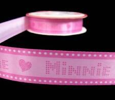"5 Yds Disney Minnie Mouse Heart Pink Satin Ribbon 7/8""W"
