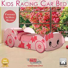 New Kids Racing Car Bed Single Size, Pink Color, Children Bedroom Furniture