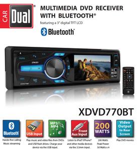 "NEW DUAL XDVD770BT 1 Din CD DVD Player 3"" LCD USB AUX Bluetooth Camera Input"
