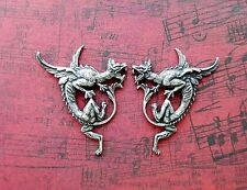 Oxidized Silver Griffin Dragon Stampings (2) - SOFFA8468-SOFFA8469