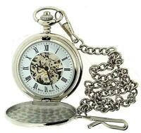 "Boxx Mens Roman Numerals Silver Tone Skeleton Mechanical Pocket Watch 12"" Chain"