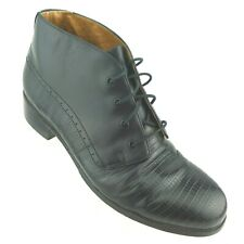 Ariat Women's Ankle Boots US 8.5 Black Lizard Embossed Leather Lace-Up