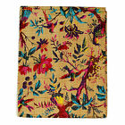 King+Cotton+Bird+Print+Blanket+Vintage+Indian+Bedspreads+Kantha+Quilt+Bohemian+