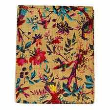 King Cotton Bird Print Blanket Vintage Indian Bedspreads Kantha Quilt Bohemian