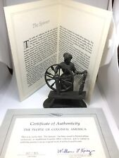 Franklin Mint People of Colonial America Pewter Figurine Coa booklet Spinner