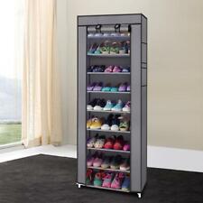 New 10 Tier 9 Grid Shoe Rack Shelf Storage Closet Organizer Cabinet Stand Gray