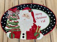 Fitz and Floyd Southern Christmas Platter Christmas Santa- Merry Christmas Yall
