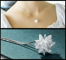 Sterling Silver Crystal Ice Snowflake Star Pendant Necklace 925 Chain + Gift Box