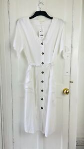NEXT White Summer Spring Linen Blend Belted Midi Tea Dress BNWT RRP £38 size 14