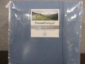 New Opened- Flannel Portugal full sheet 4 Piece set - Infinity Blue