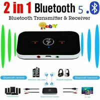 Bluetooth 5.0 Transmitter Receiver 2 IN 1 Wireless Audio 3.5mm Jack Aux Adapter@