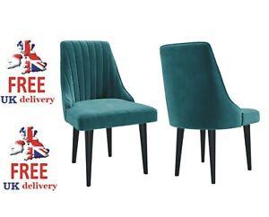 Pair of Teal Blue Velvet Ribbed Dining Chairs - Penelope Model PEN002 ***NEW***
