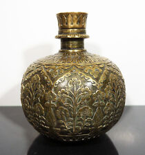EARLY 18th C. ANTIQUE ENGRAVED BRASS HOOKAH BASE LAHORE MUGHAL INDIA ISLAMIC