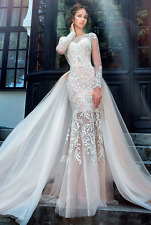 New Ivory Mermaid Lace Wedding Dress Bridal Gown Fit Flare with Detachable Train