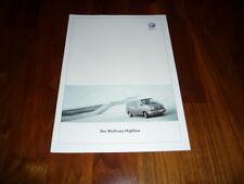 VW Multivan HIGHLINE Prospekt 04/2002