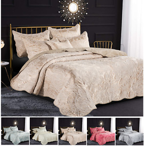 Luxury 3 Piece Embroidered Quilted Bedspread Throw Bedding Set Double King Size