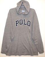 Polo Ralph Lauren Mens Gray Letterman Hoodie L/S Cotton T-Shirt NWT Size S