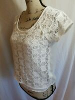 Lauren Conrad Womens Size XS Blouse Short Sleeve Scoop Neck Lined Floral White