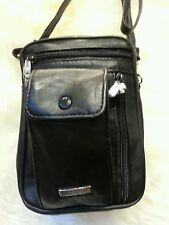 GENTS BLACK LEATHER TRAVEL BAG WRIST HANDLE SHOULDER STRAP