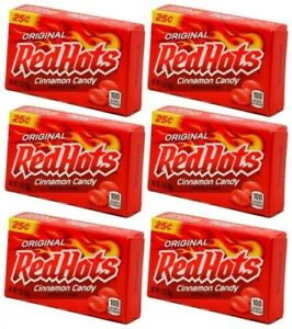 6x Original Red Hots Cinnamon Candy 26g American Sweets - New