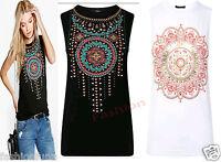 Womens Ladies Sleeveless Aztec Tribal Print Summer T Shirt Tank Vest Top 8-14