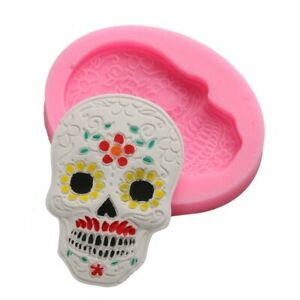 3D Skull Silicone Fondant Mold Cake Baking Candy Sugar Mould Topper Ice Wax Tray