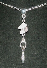 """Rose Quartz Goddess Pendant Silver Plated Chain Necklace 17"""" Pagan Wicca Occult"""