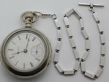 Antique Working 1904 ELGIN Large Gents Silver Victorian Pocket Watch 18s w/Chain