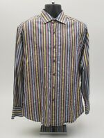 Robert Graham Men's Shirt Size Large Gray Blue Green Striped