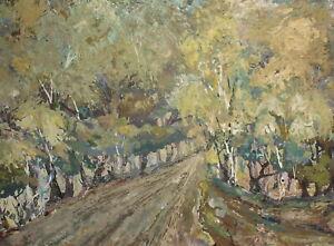 Vintage expressionist oil painting forest landscape signed