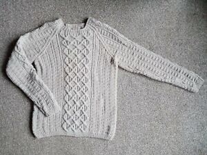 Hand knitted silver light grey Aran cable sweater jumper size 10 -12 new