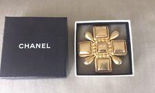 Vtg  CHANEL Large Gold Plated Maltese Cross Brooch Pendant Original Box CC Logo